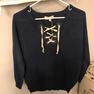 Tie up blue sweater! Brand new, never worn